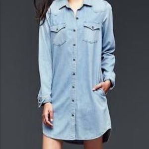 Gap denim jean shirt dress size small